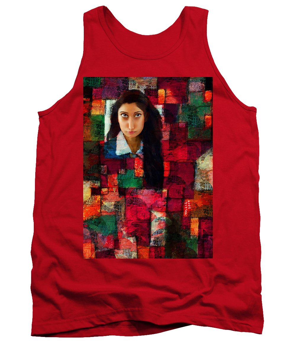 Woman Tank Top featuring the painting Woman In Abstract 454 by Maciej Mackiewicz