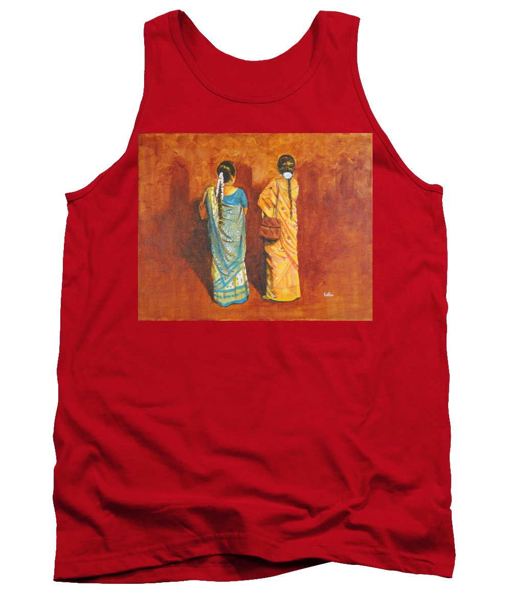Women Tank Top featuring the painting Women In Sarees by Usha Shantharam