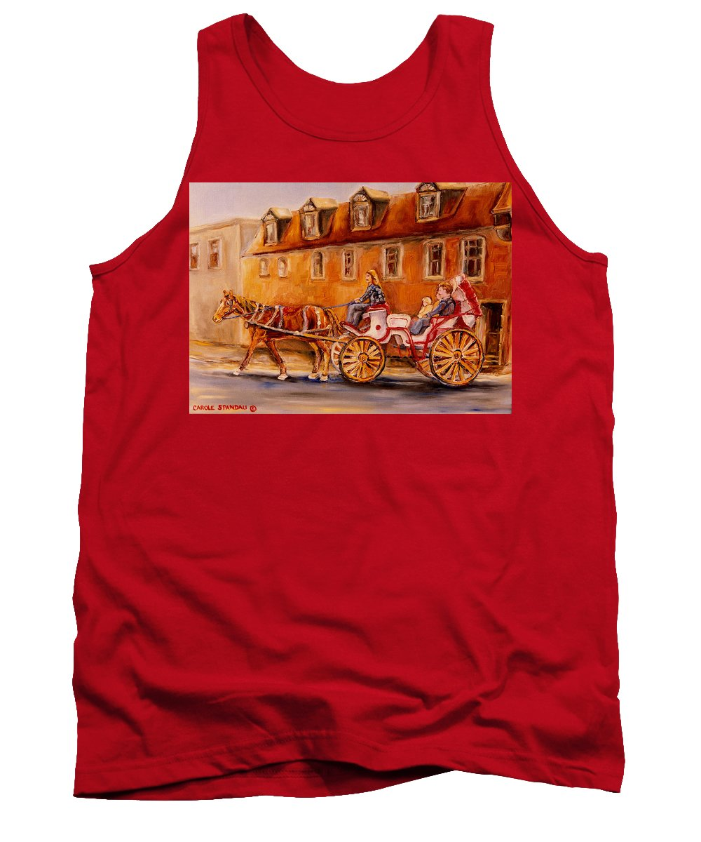 Quebec City Tank Top featuring the painting Wonderful Carriage Ride by Carole Spandau