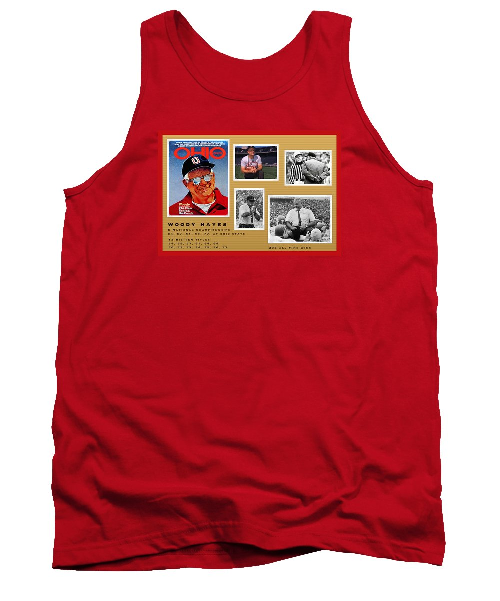 Woody Hayes Tank Top featuring the painting Woody Hayes Legen Five Panel by John Farr