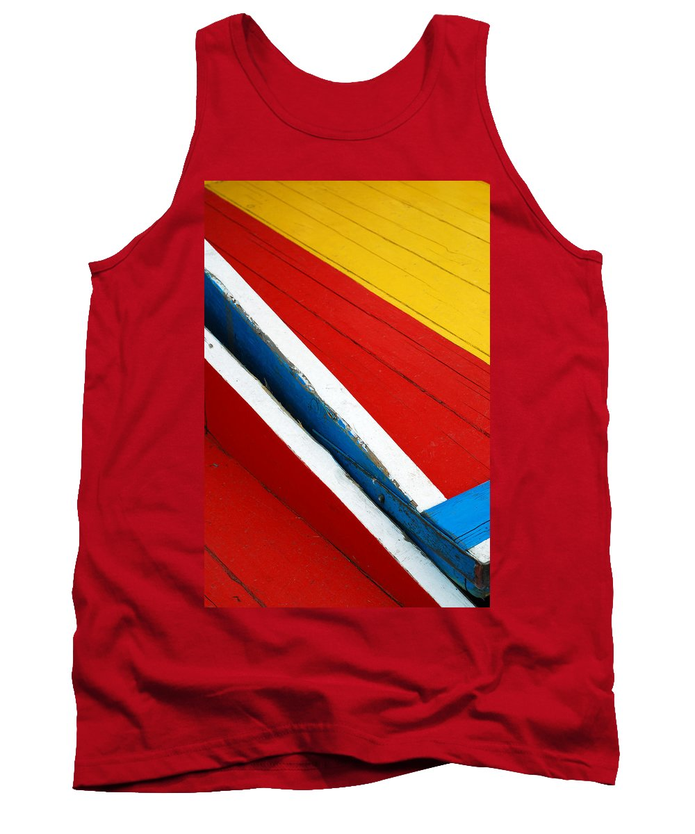 Red Tank Top featuring the photograph Xochimilco Boat Abstract 1 by Skip Hunt