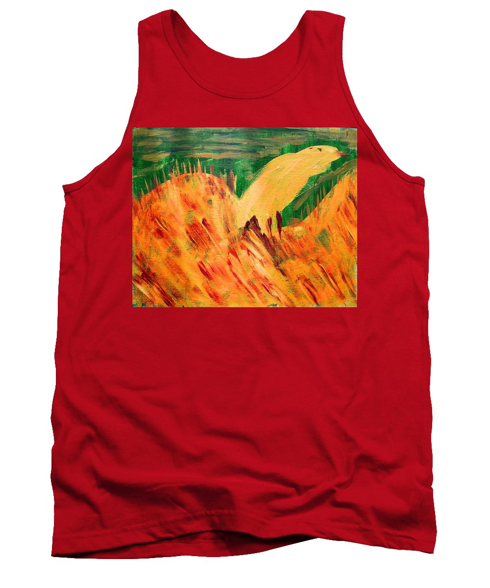 Abstract Tank Top featuring the painting Yellow Bird by Lenore Senior
