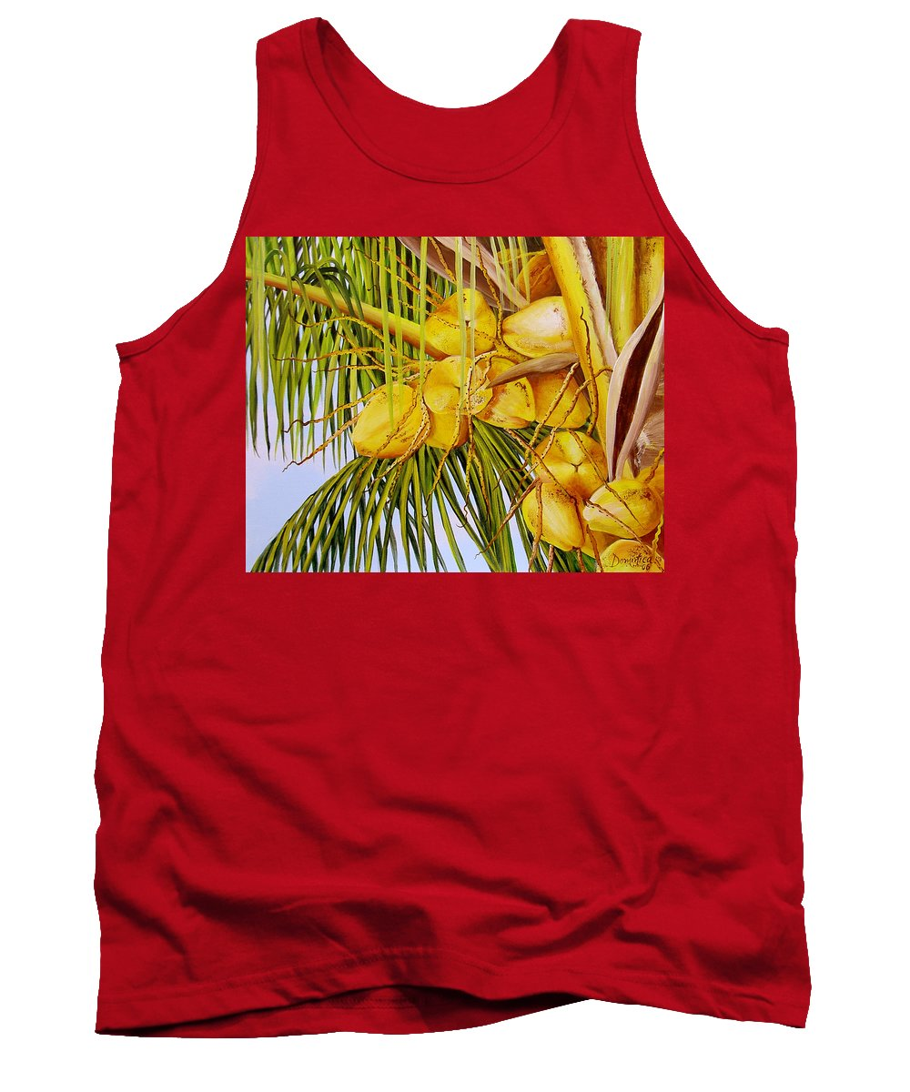Coconuts Tank Top featuring the painting Yellow Coconuts- 01 by Dominica Alcantara