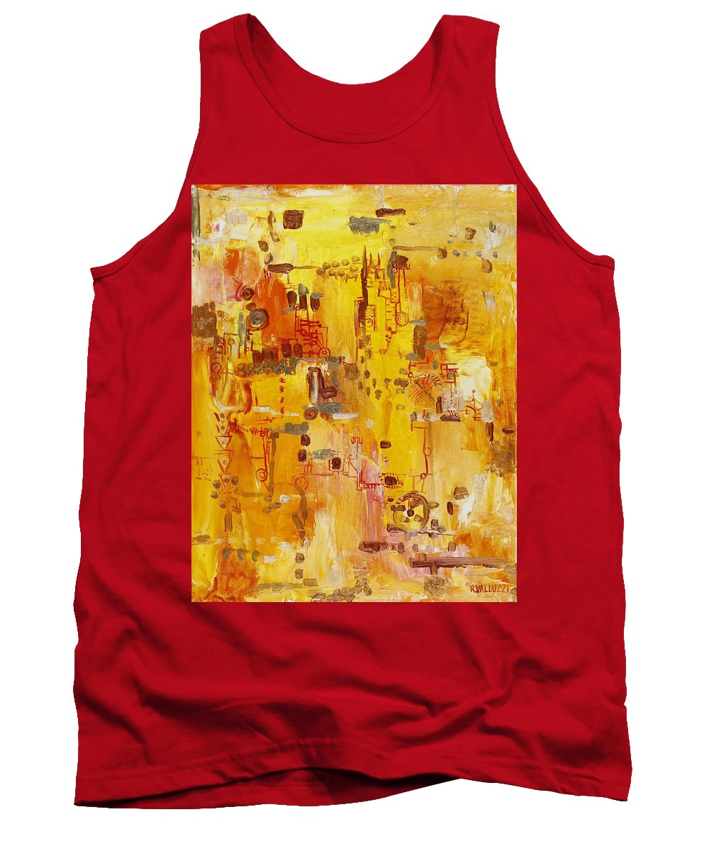 Landscape Tank Top featuring the painting Yellow Conundrum by Regina Valluzzi