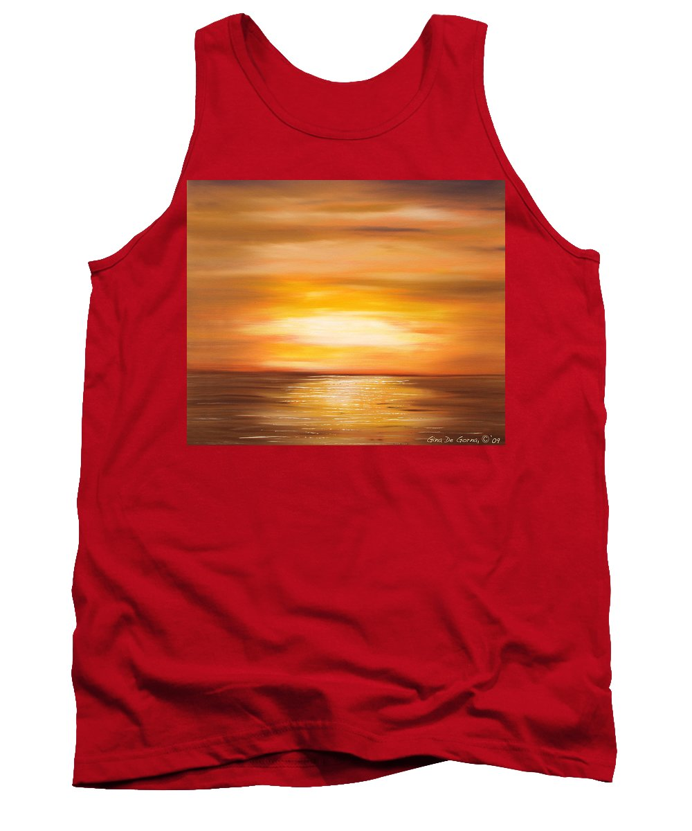 Yellow Gold Colors Sunsets Oil Painting Originals Gina De Gorna Art Works Tank Top featuring the painting Yellow Gold Sunset by Gina De Gorna