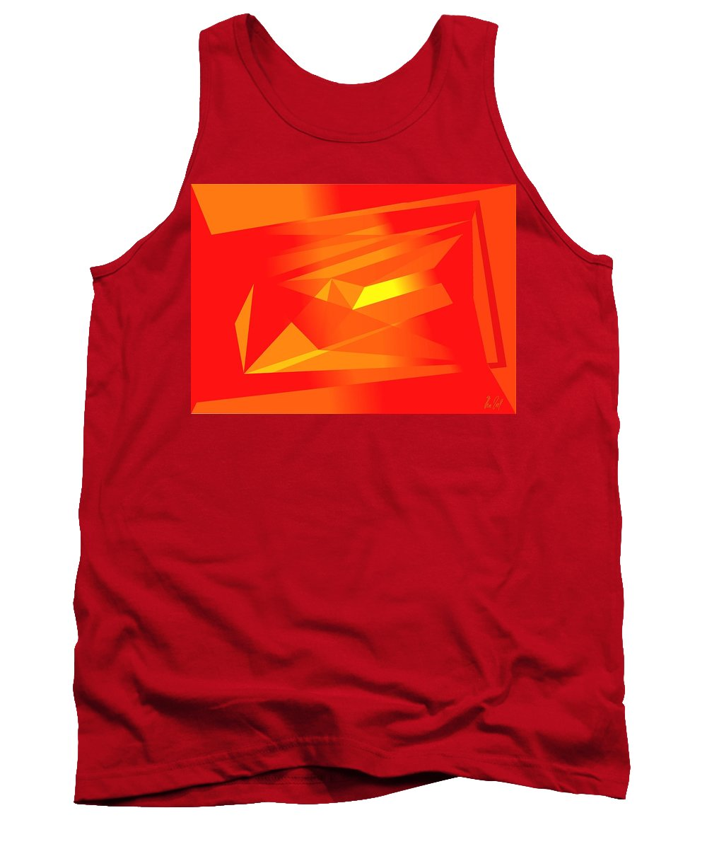 Red Tank Top featuring the digital art Yellow In Red by Helmut Rottler