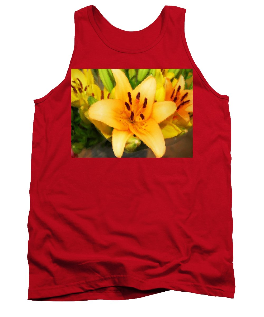 Sunflowers Tank Top featuring the painting Yellow Lily by Michael Thomas