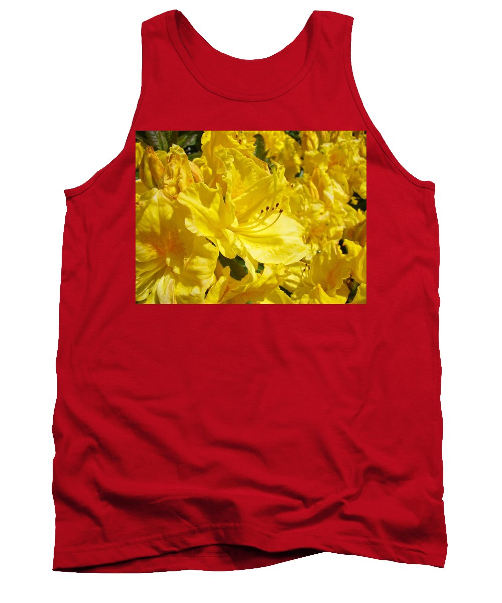 Rhodies Tank Top featuring the photograph Yellow Rhodies Floral Brilliant Sunny Rhododendrons Baslee Troutman by Baslee Troutman