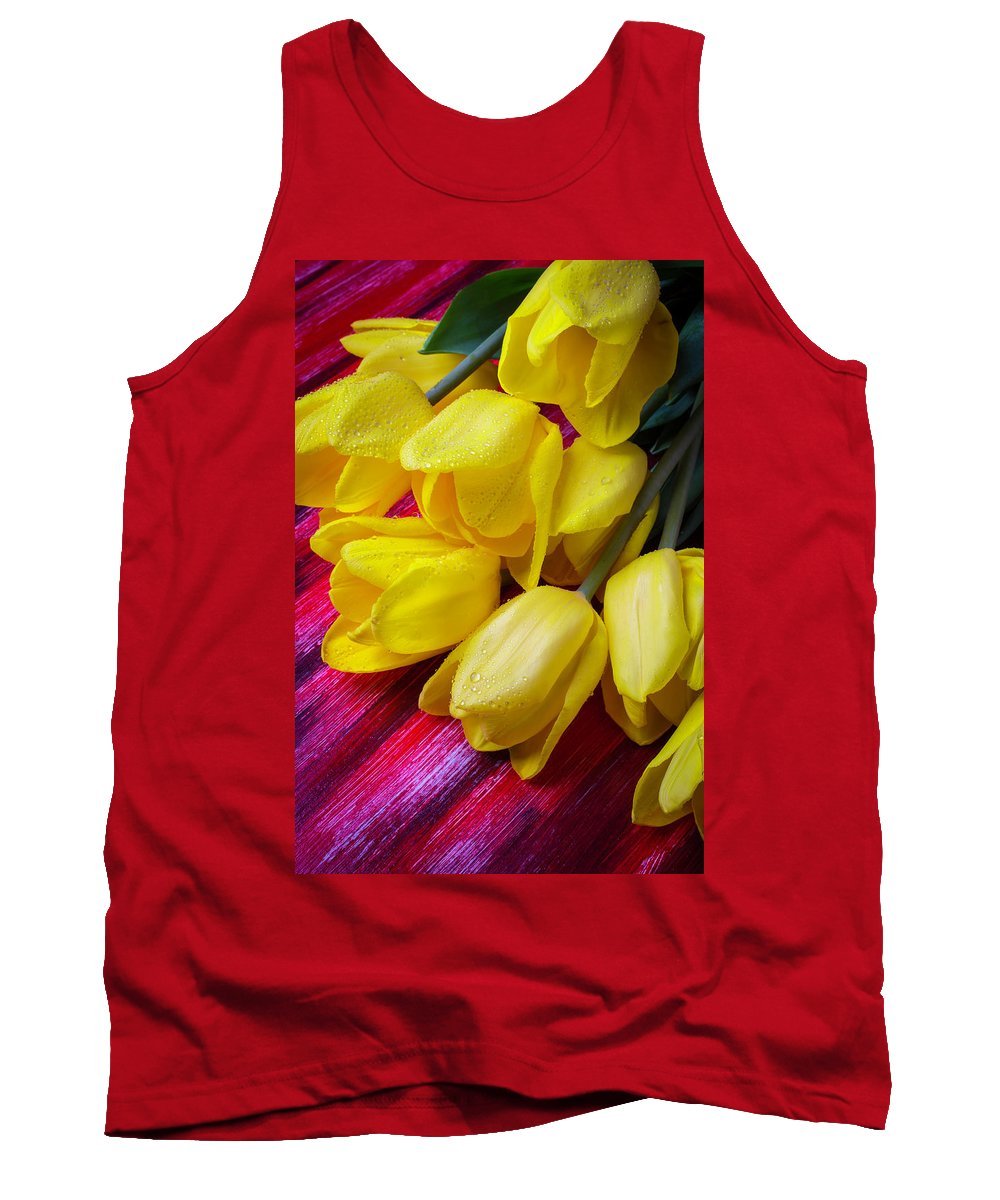 Yellow Tank Top featuring the photograph Yellow Tulips With Dew Drops by Garry Gay