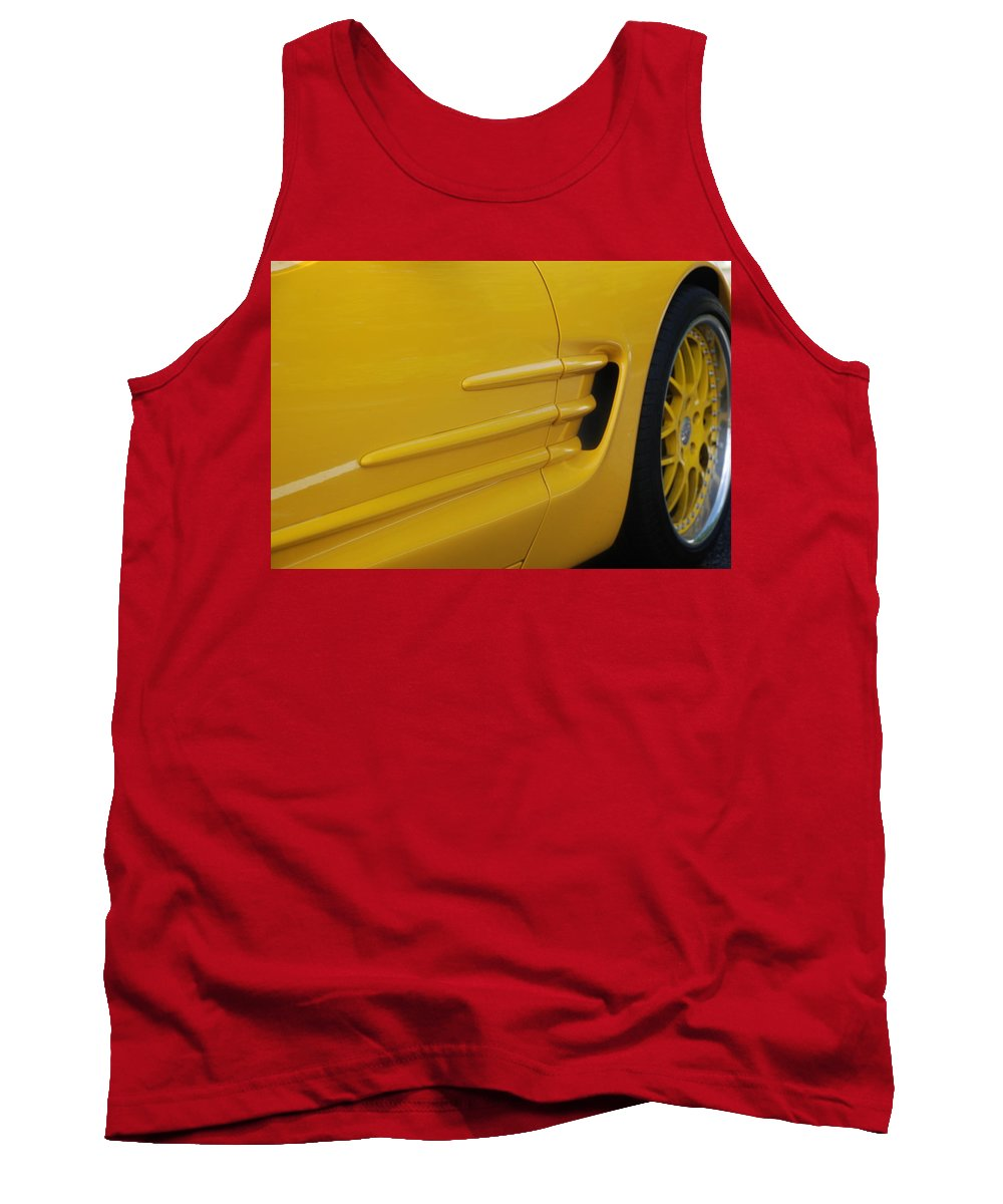 Corvette Tank Top featuring the photograph Yellow Vette by Rob Hans