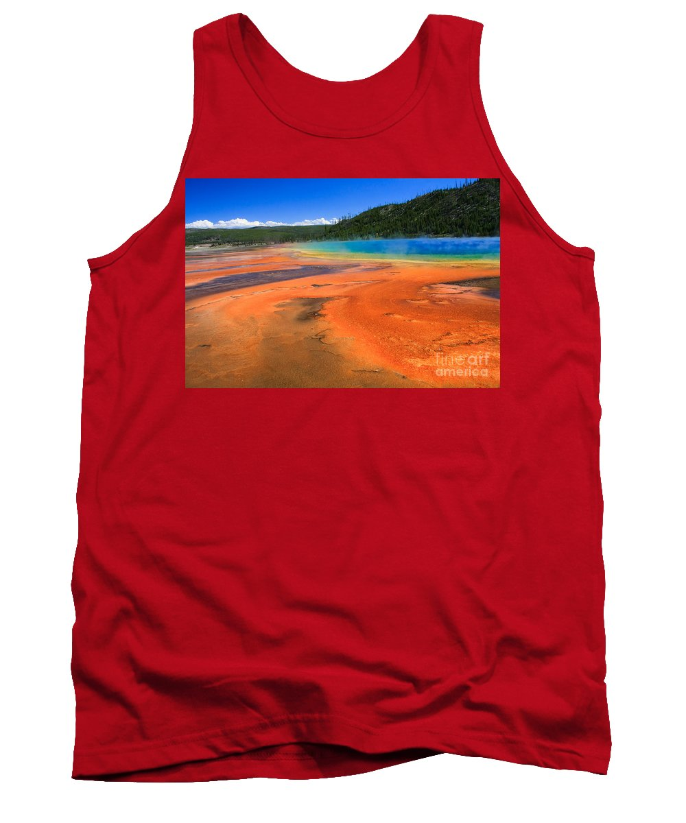 Scenic Tank Top featuring the photograph Yellowstone by Bob Mintie
