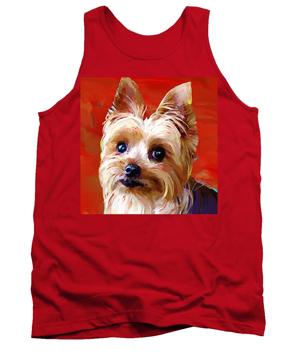 Yorkie Tank Top featuring the painting Yorkie 2 by Jackie Jacobson