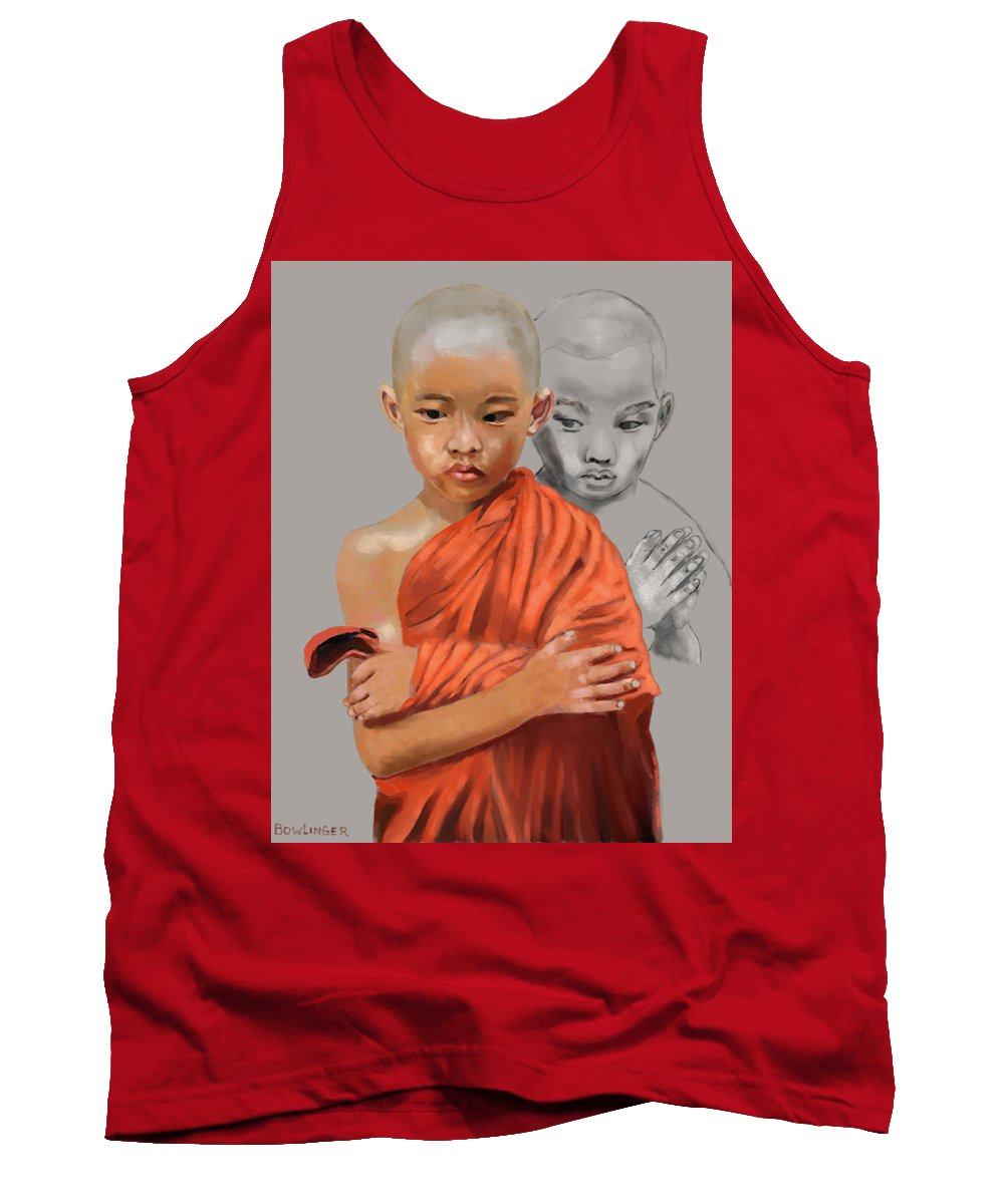 Figure Tank Top featuring the digital art Young Lama by Scott Bowlinger