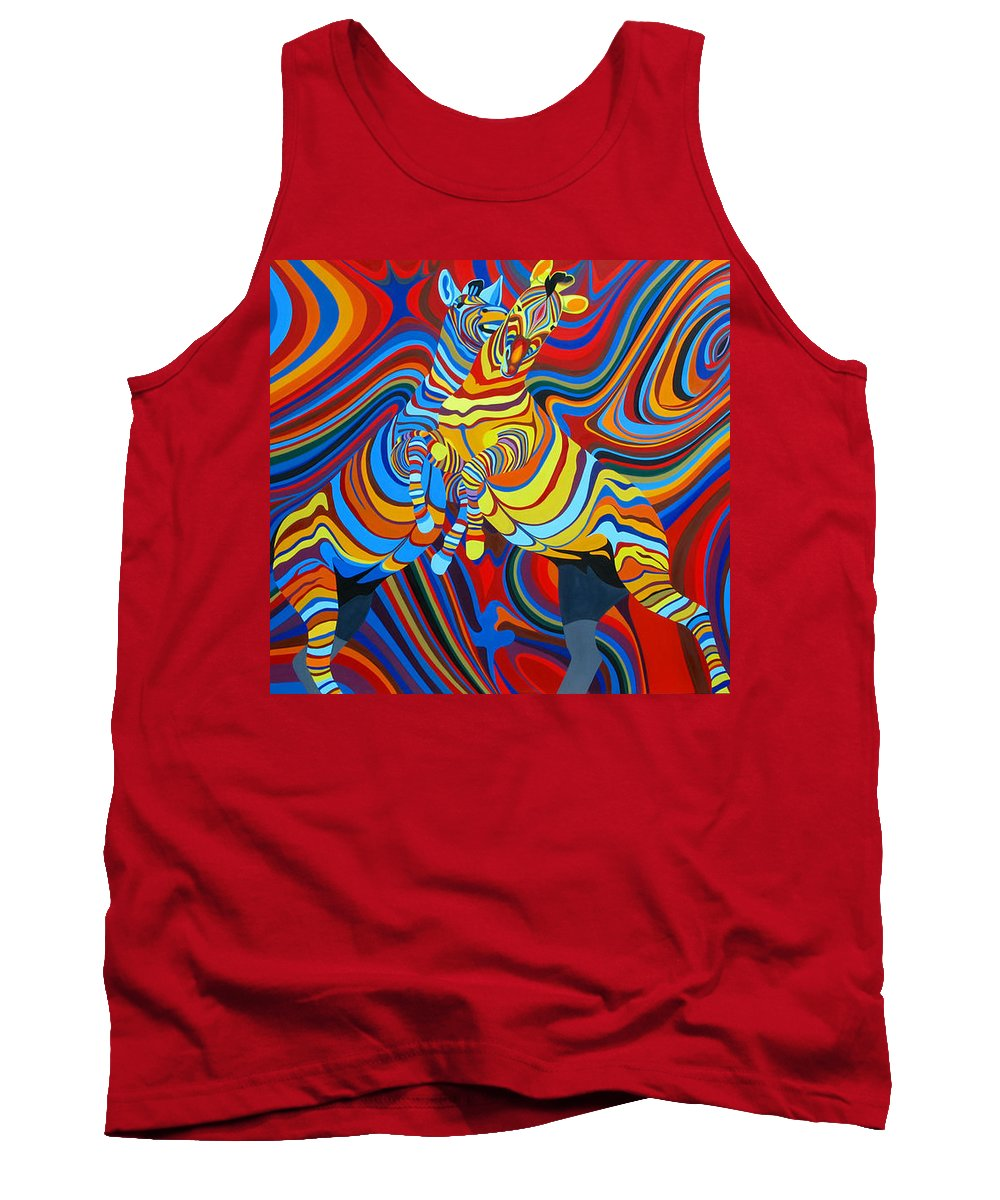 Zebra Tank Top featuring the painting Zebradelic by Pascal Etienne Roy