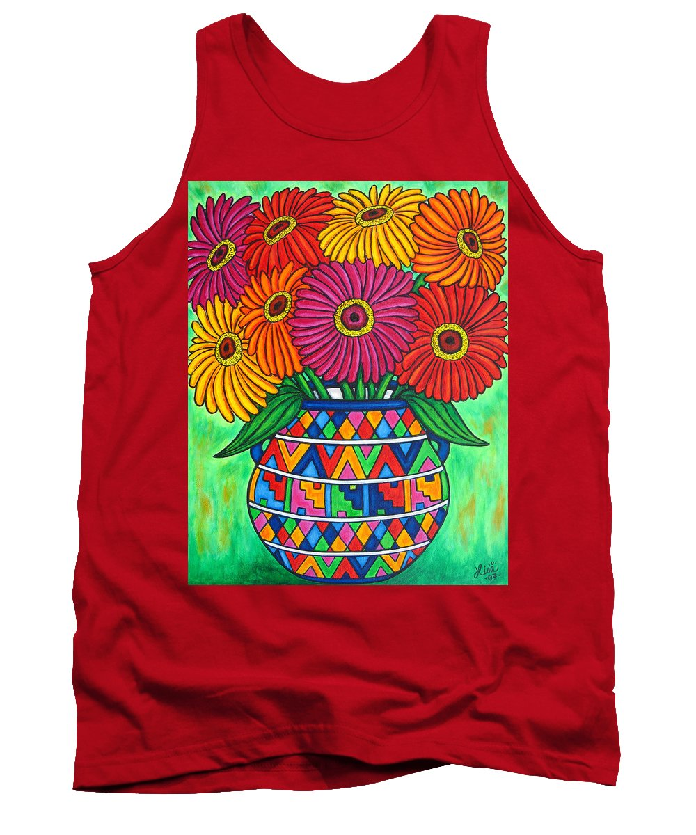 Zinnia Tank Top featuring the painting Zinnia Fiesta by Lisa Lorenz