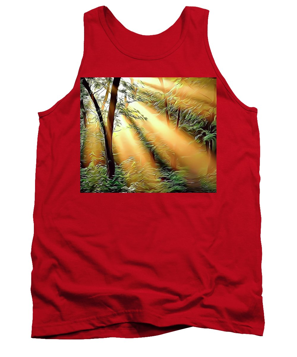 Forest Tank Top featuring the digital art 1 Forest Rays by Russ Carts
