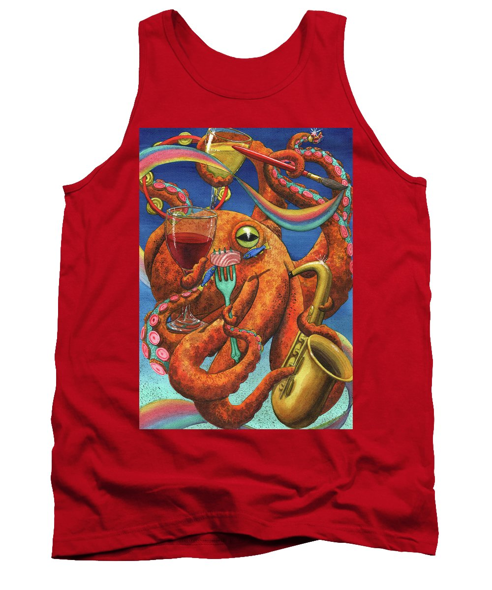 Octopus Tank Top featuring the painting Art Partypus by Catherine G McElroy
