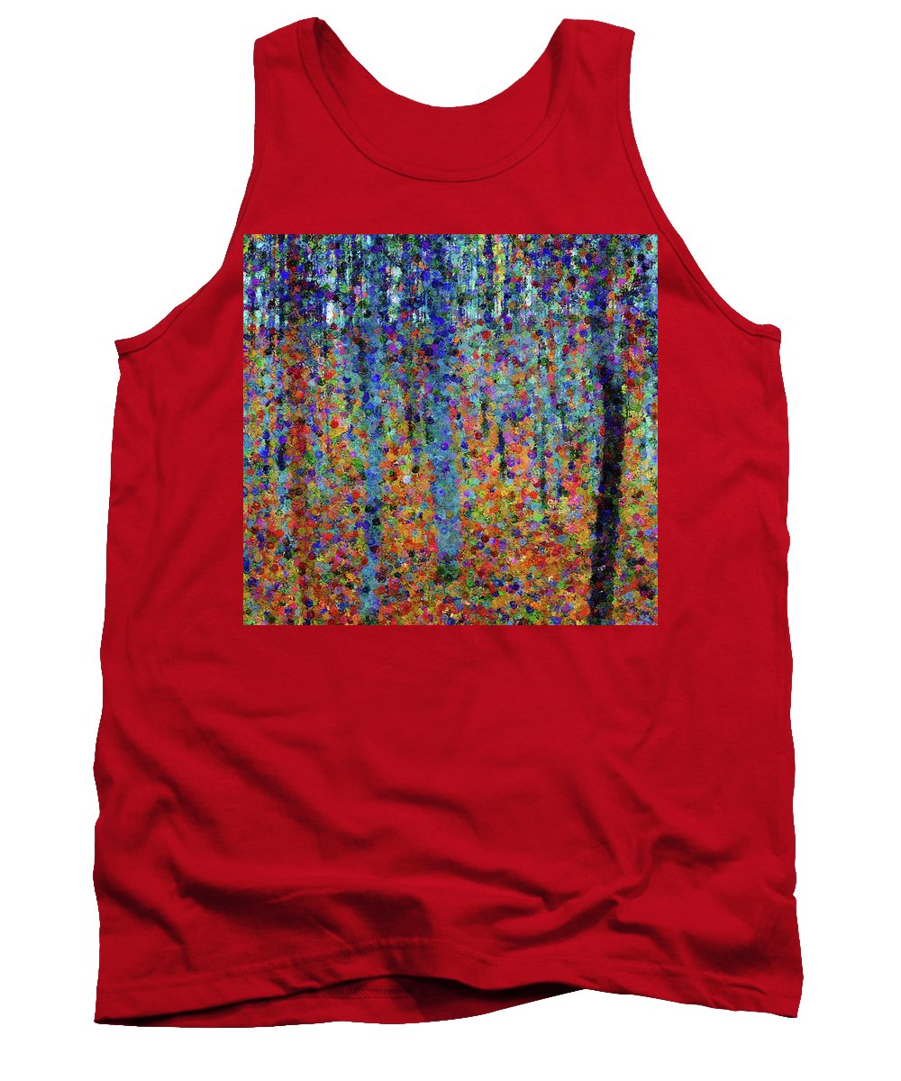 Beech Grove Abstract Expressionism Tank Top featuring the mixed media Beech Grove Abstract Expressionism by Georgiana Romanovna