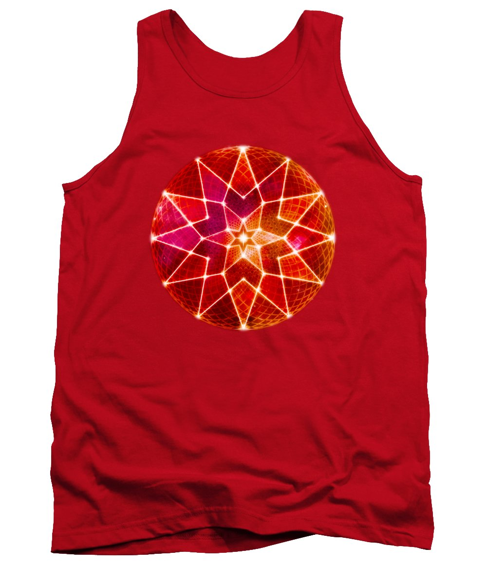 Seed Of Life Tank Top featuring the digital art Cosmic Geometric Seed Of Life Crystal Red Lotus Star Mandala by Laura Ostrowski