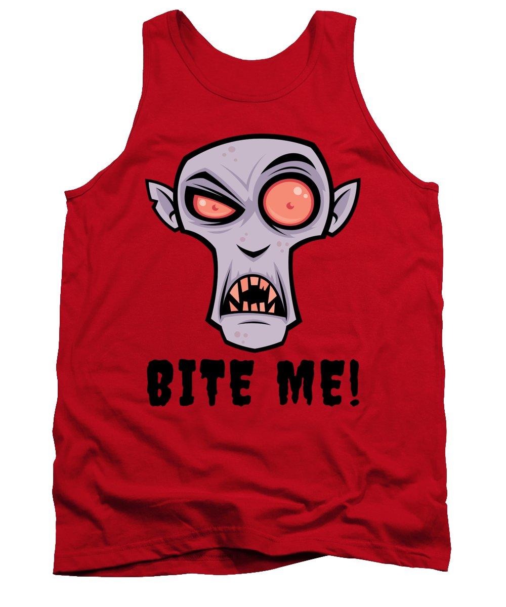 Cartoon Tank Top featuring the digital art Creepy Vampire Cartoon with Bite Me Text by John Schwegel