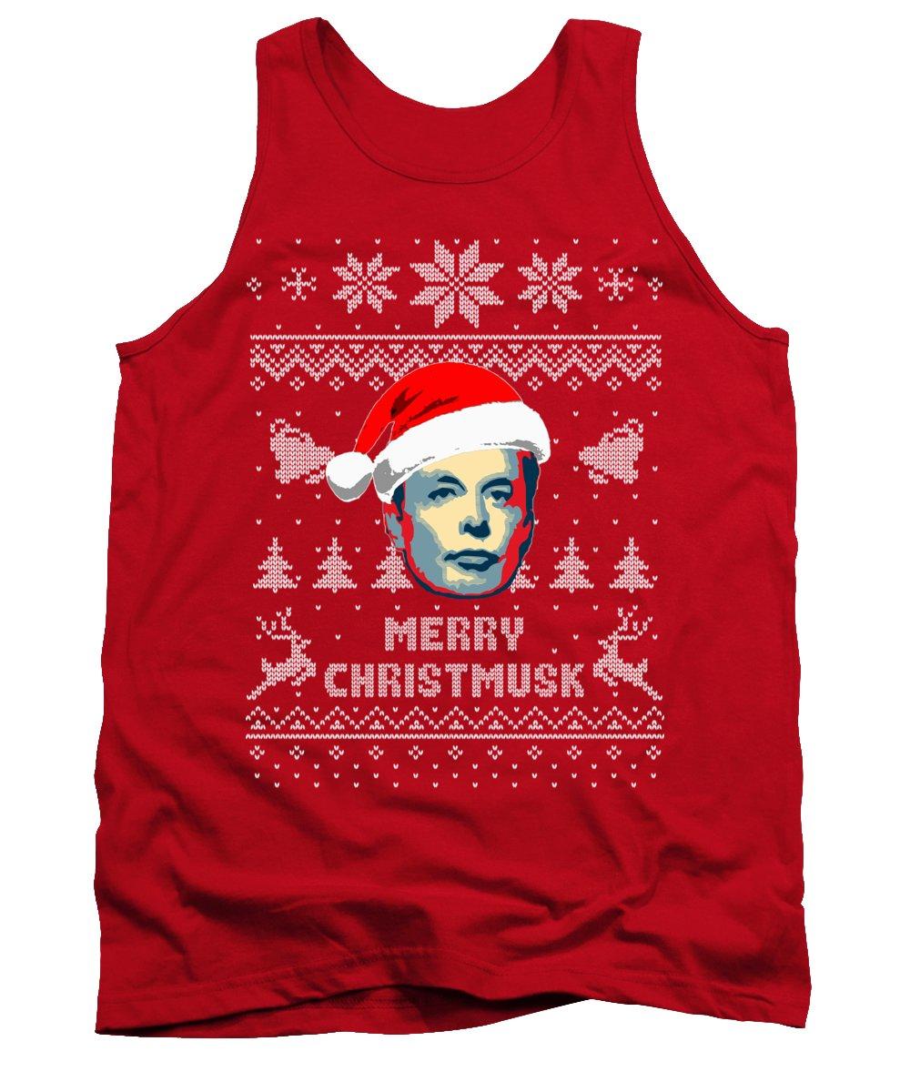 Christmas Tank Top featuring the digital art Elon Musk Merry Christmusk by Filip Schpindel