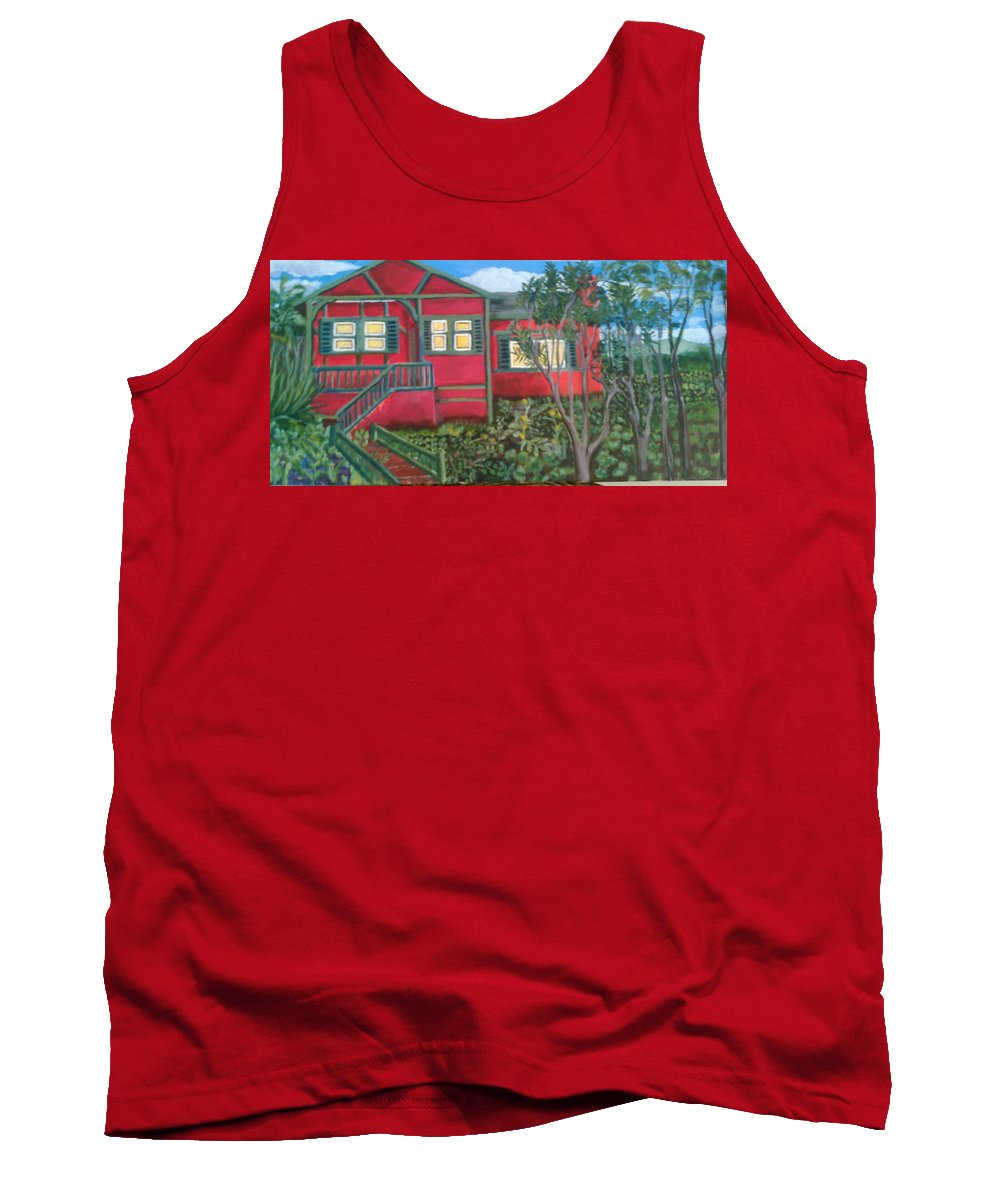 Painting Of House Tank Top featuring the painting Fresh yard by Andrew Johnson