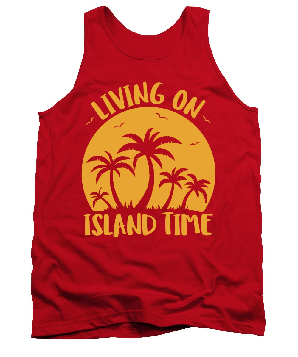 Beach Tank Top featuring the digital art Living On Island Time Palm Trees And Sunset by John Schwegel