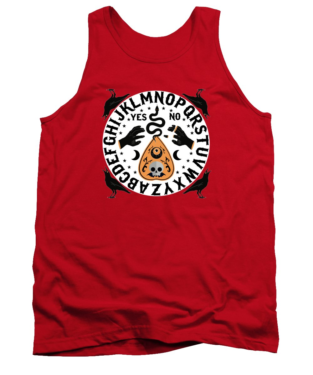 Painting Tank Top featuring the painting Orange And Black Modern Ouija Board With Ravens by Little Bunny Sunshine