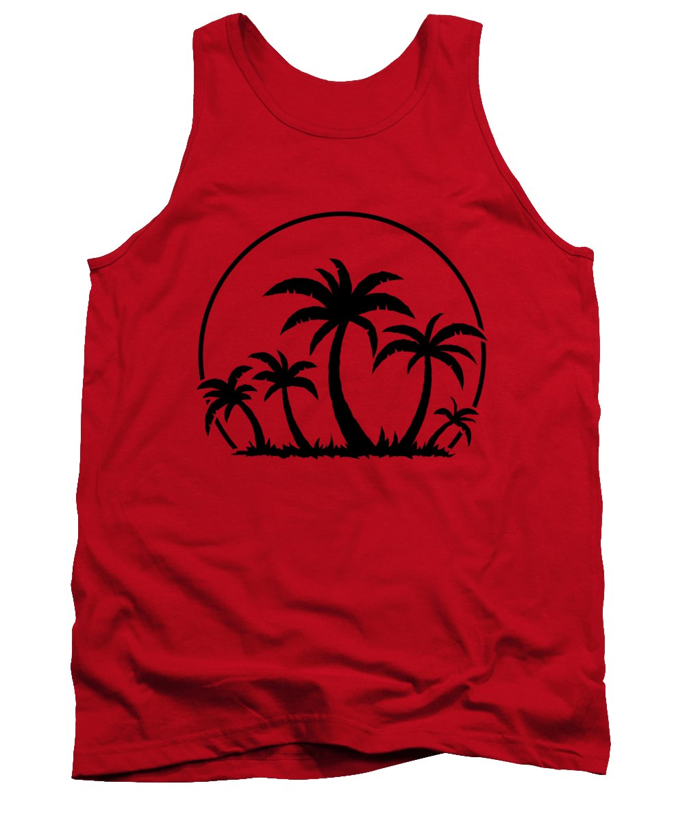 Beach Tank Top featuring the digital art Palm Trees And Sunset in Black by John Schwegel