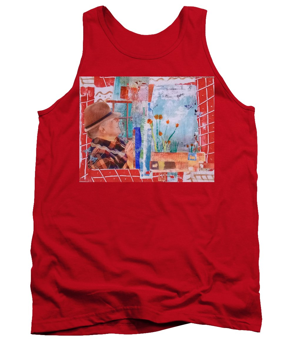 Collage Tank Top featuring the mixed media Watching My Garden Grow by ILona Halderman