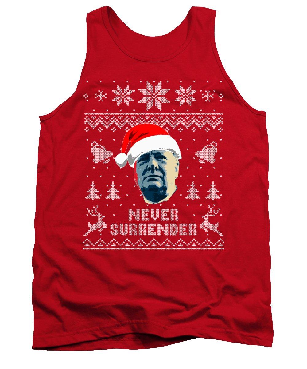 Christmas Tank Top featuring the digital art Winston Churchill Never Surrender Christmas by Filip Schpindel