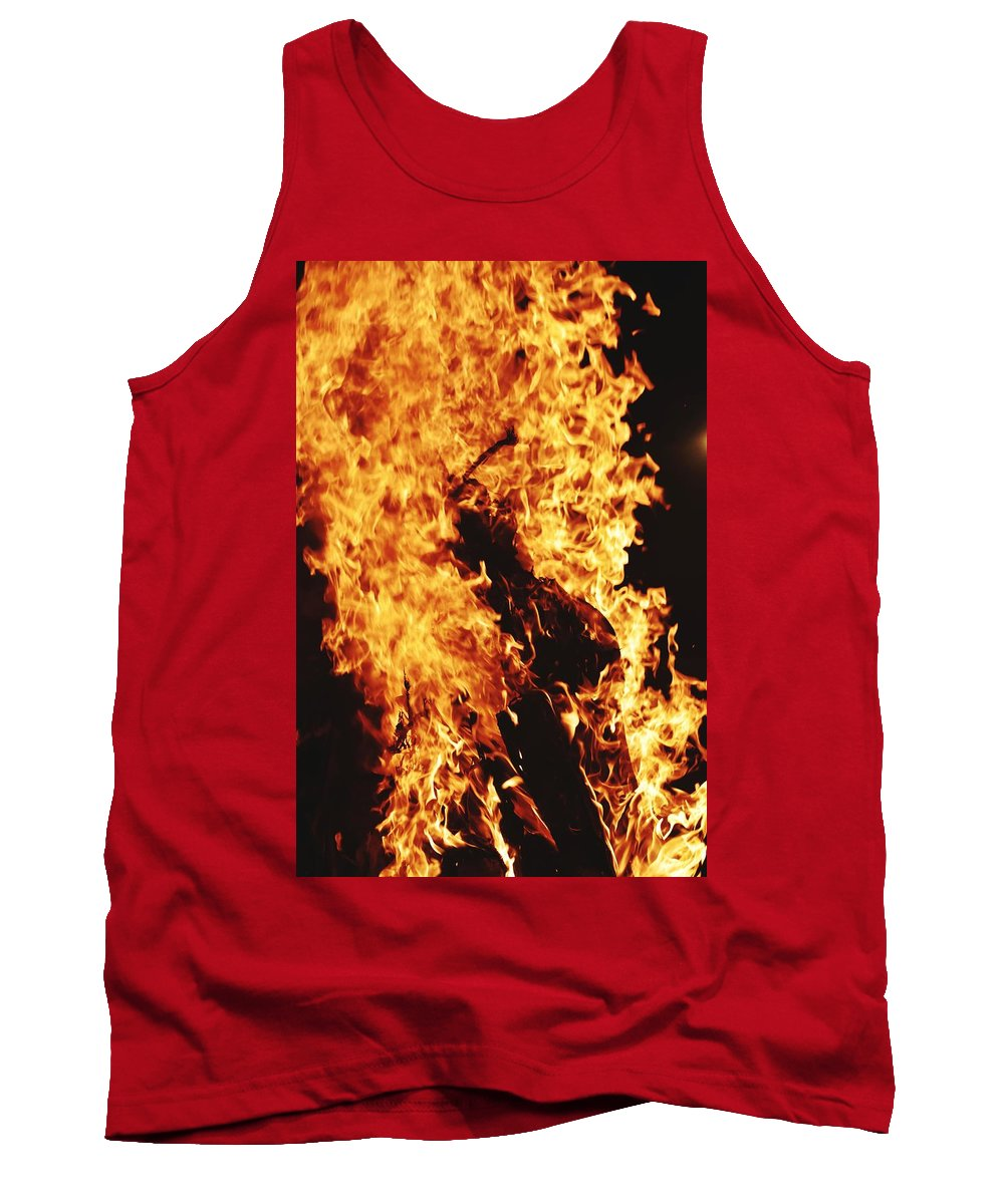 Campfire Tank Top featuring the photograph Closeup of Fire at time of festival by Ravindra Kumar