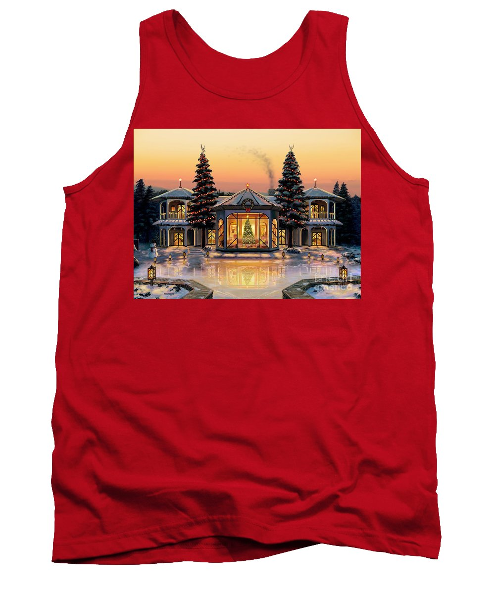 Christmas Tank Top featuring the painting A Warm Home For The Holidays by Stu Shepherd