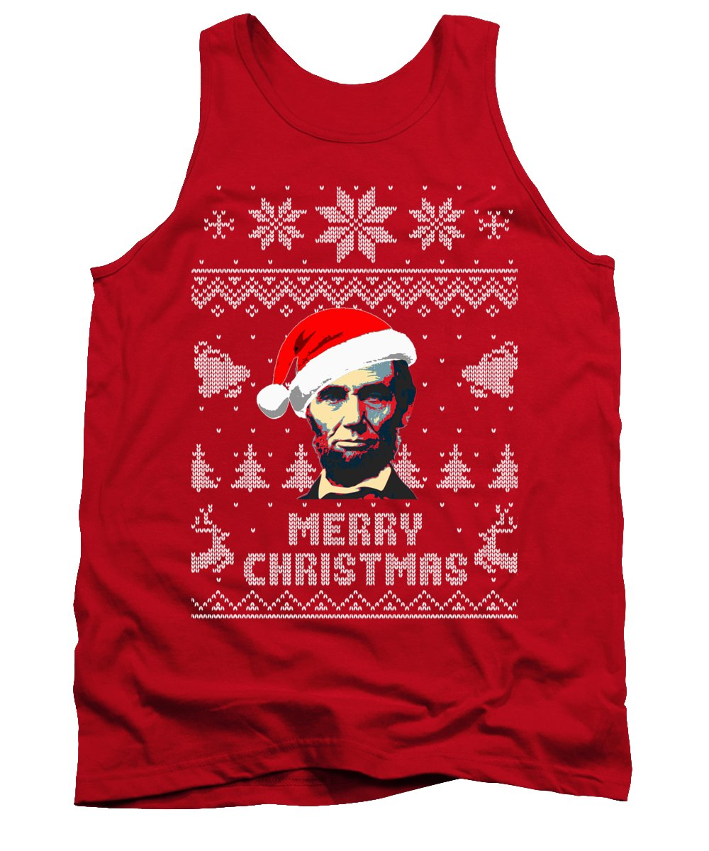 North America Tank Top featuring the digital art Abraham Lincoln Merry Christmas by Filip Schpindel