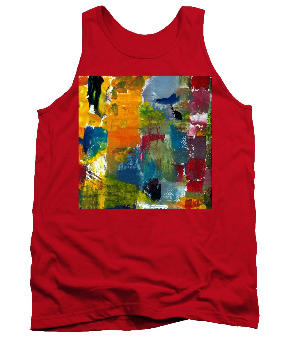 Abstract Collage Tank Top featuring the painting Abstract Color Relationships ll by Michelle Calkins