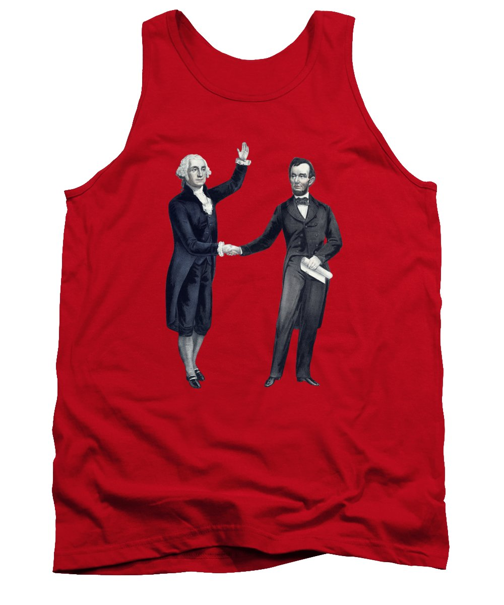 Abraham Lincoln Tank Top featuring the painting Washington And Lincoln Shaking Hands by War Is Hell Store