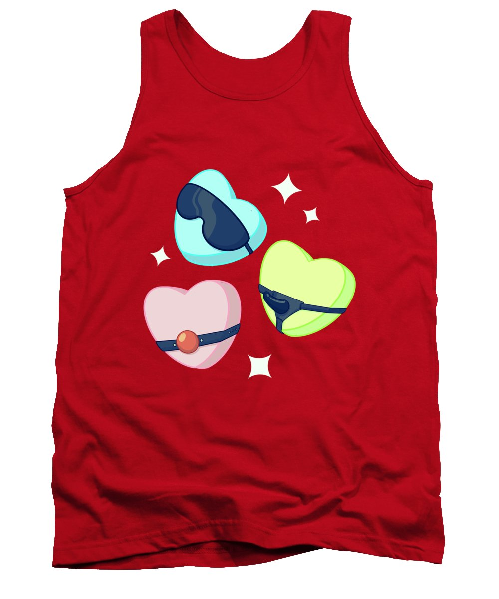Candy Tank Top featuring the drawing Candy Hearts by Ludwig Van Bacon