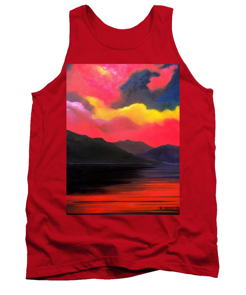 Surreal Tank Top featuring the painting Crimson clouds by Sergey Bezhinets
