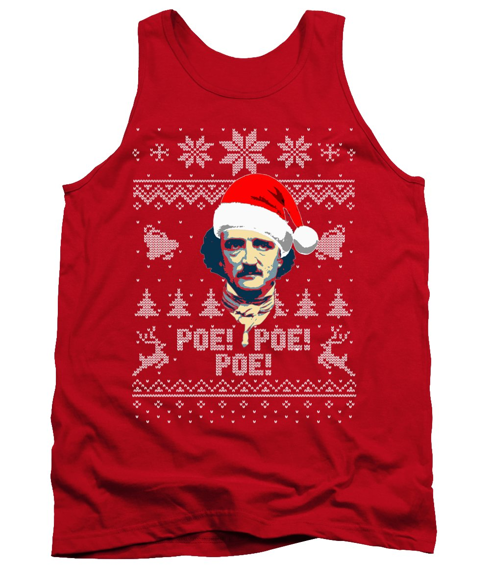 Santa Tank Top featuring the digital art Edgar Allan Poe Ho Ho Ho Poe Poe Poe by Filip Schpindel