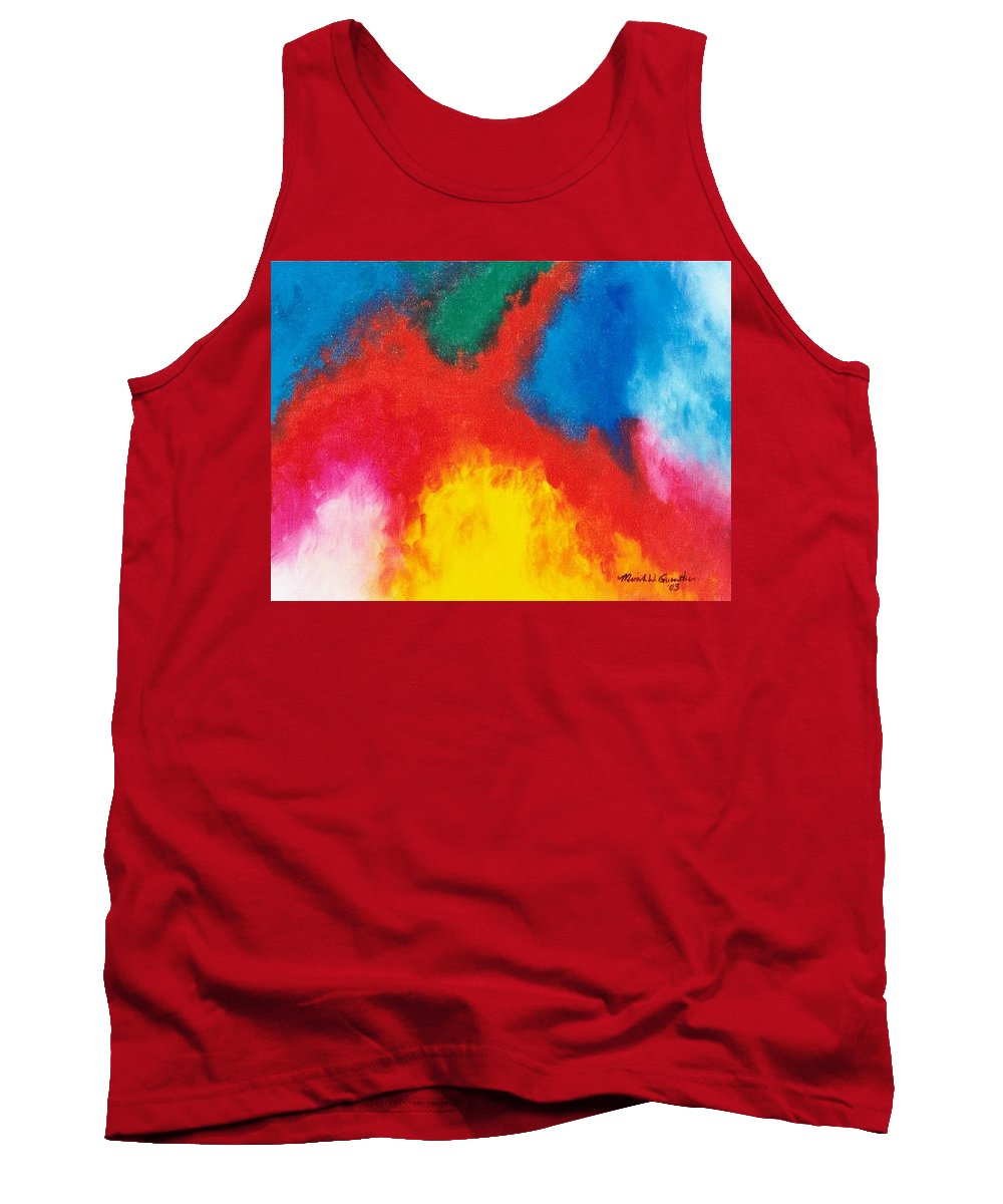 Fire Tank Top featuring the painting Eruption by Micah Guenther