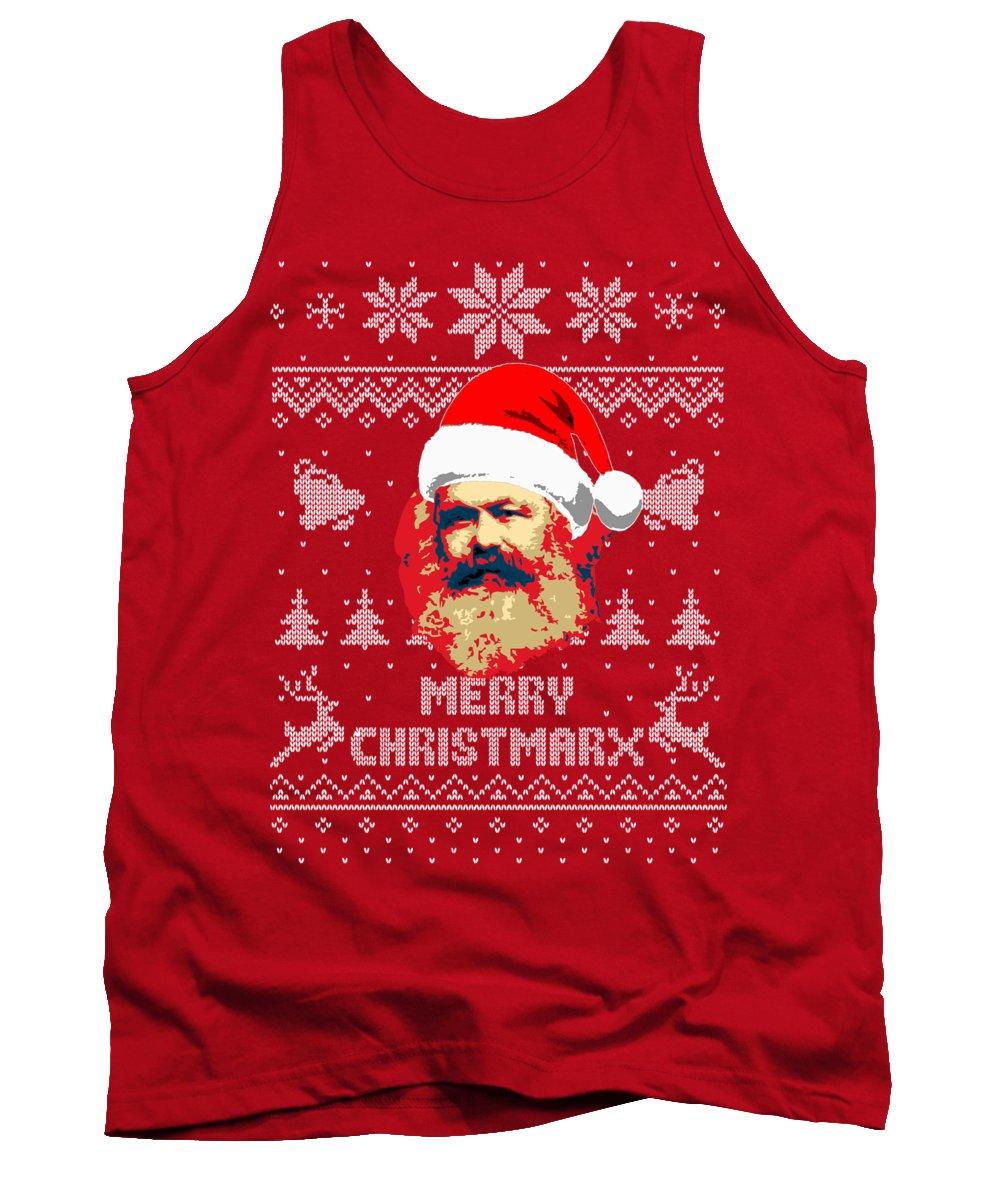 Santa Tank Top featuring the digital art Karl Marx Merry Christmarx by Filip Schpindel