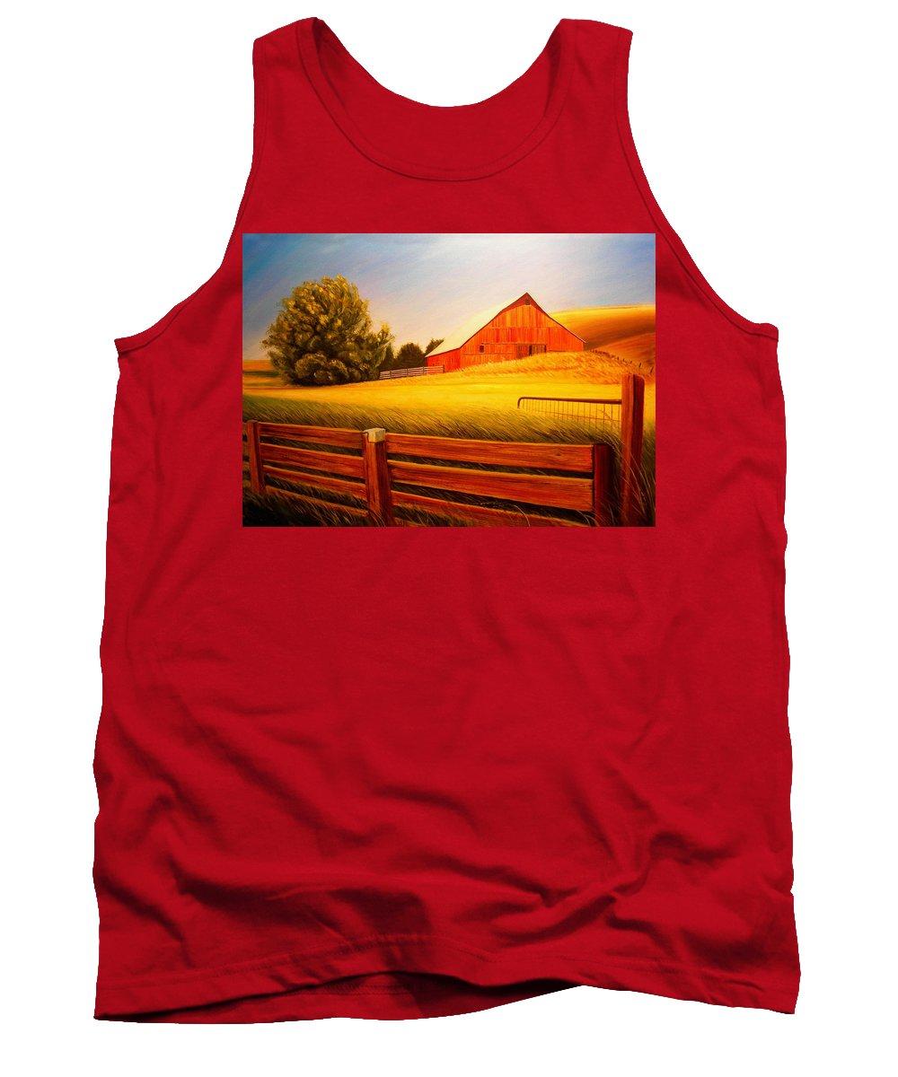 Wheat Tank Top featuring the painting La Crosse Barn by Leonard Heid