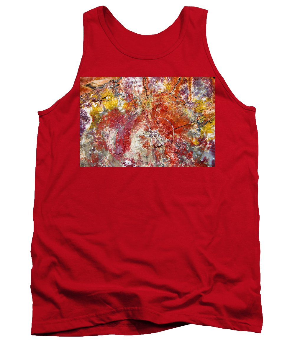 Petrified Wood Stone Texture Abstract Color Skip Hunt Tank Top featuring the photograph Painted Desert Wood 1 by Skip Hunt