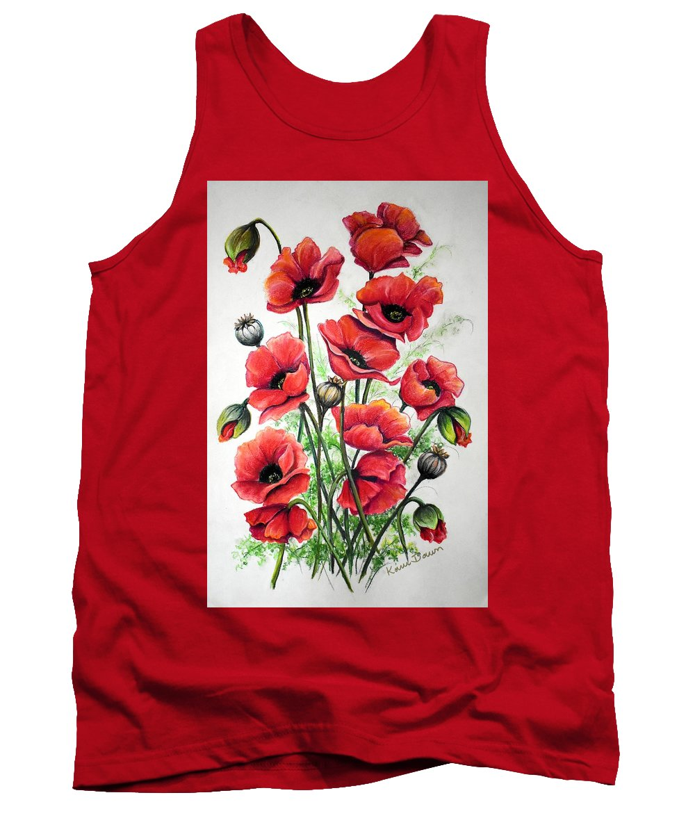 Red Tank Top featuring the drawing Poppies In Pastel by Karin Dawn Kelshall- Best