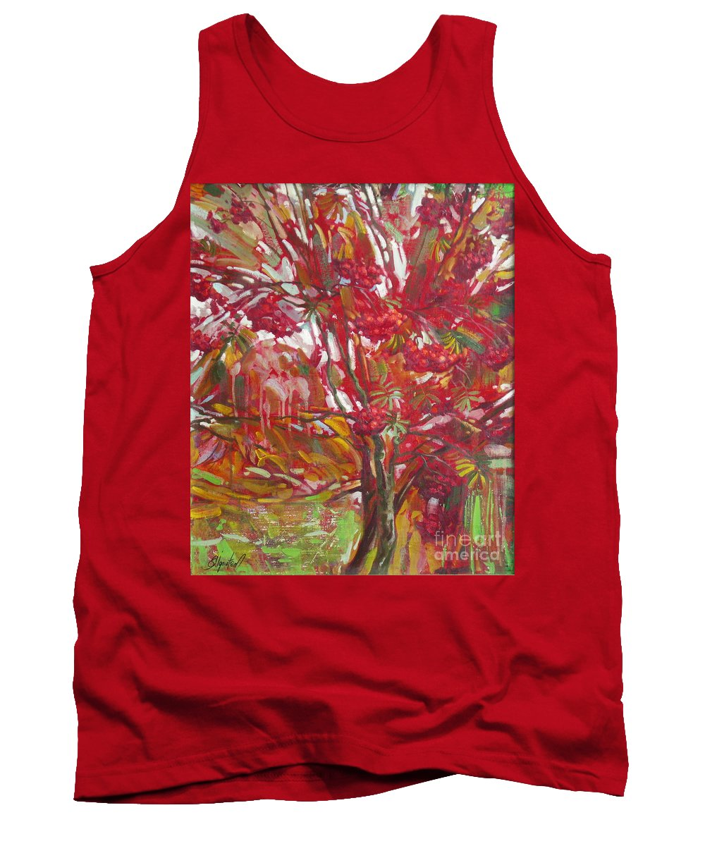 Oil Tank Top featuring the painting Rowan tree by Sergey Ignatenko