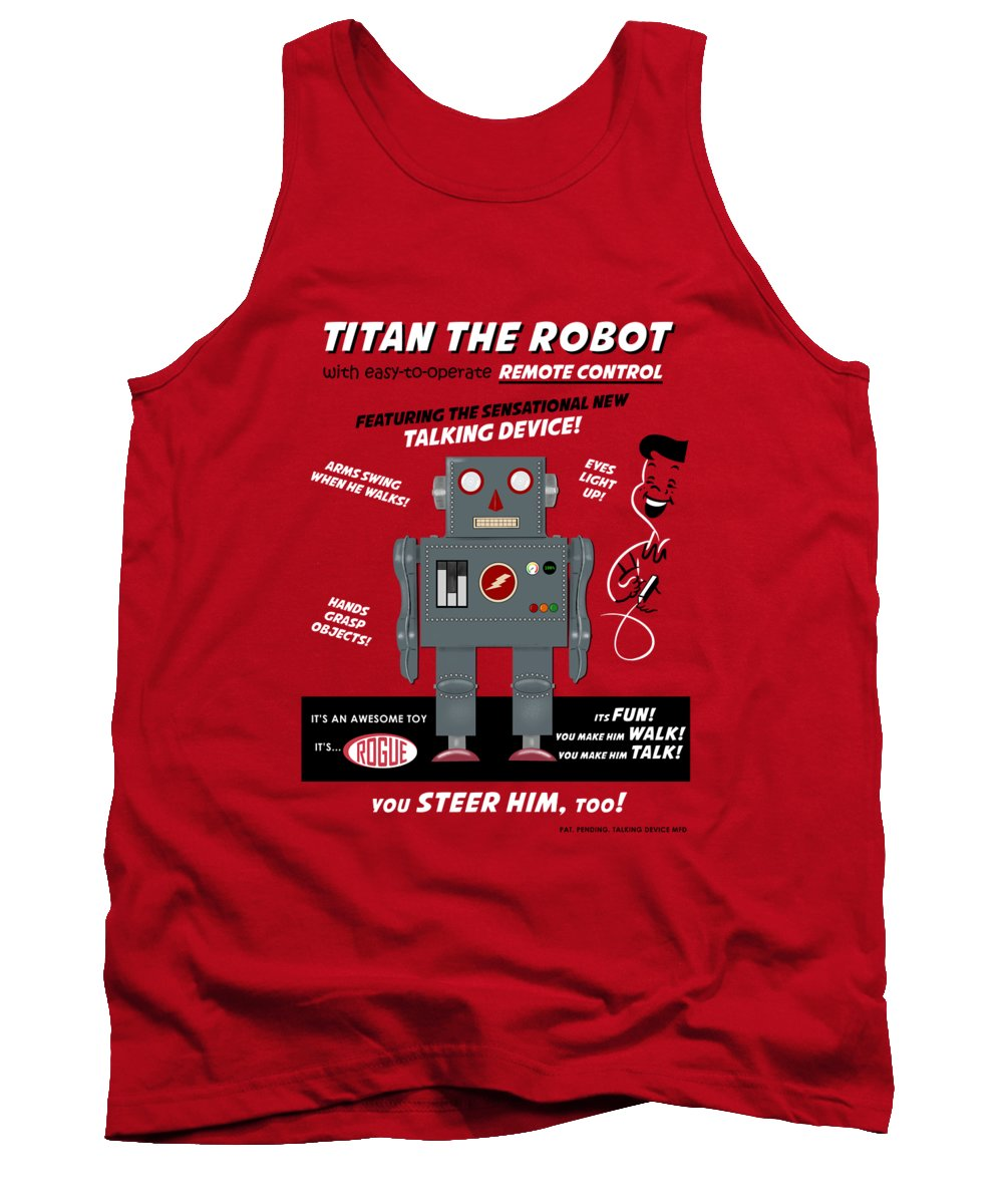 Toy Robot Tank Top featuring the photograph Titan The Vintage Toy Robot by Mark Rogan