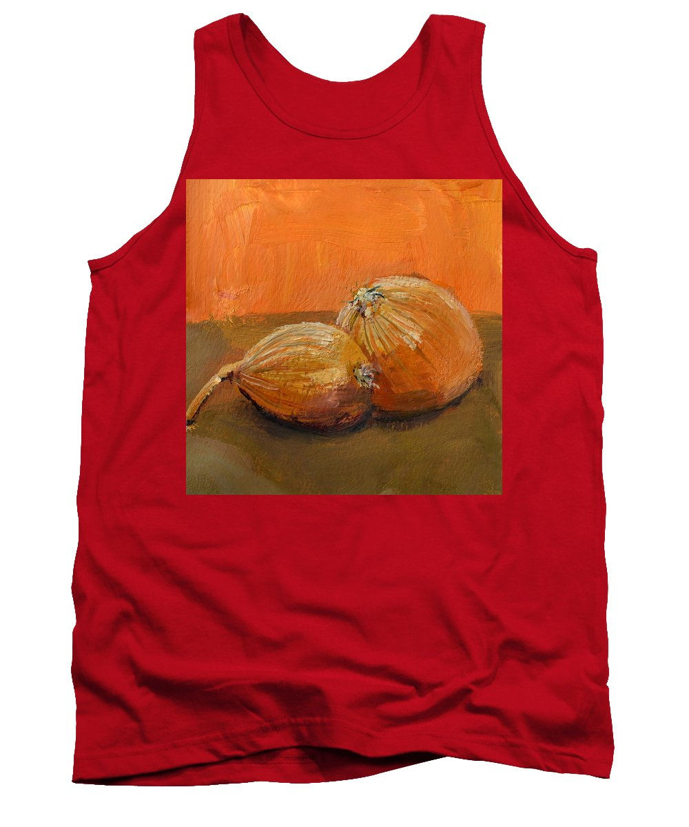 Agriculture Tank Top featuring the painting Yellow Onions Still Life by Michelle Calkins