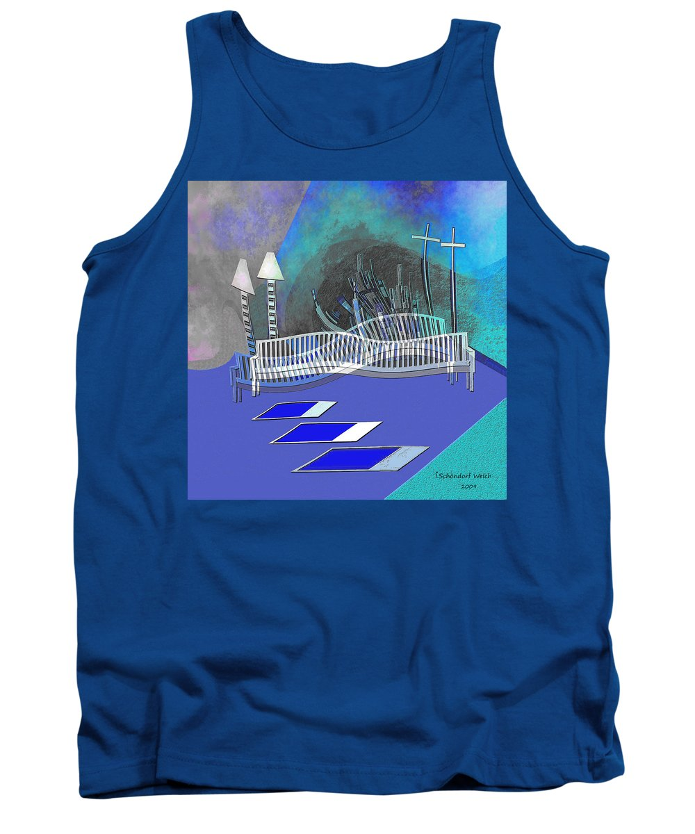 112 This Earthquake Feeling Tank Top featuring the painting 112 This Earthquake Feeling  by Irmgard Schoendorf Welch