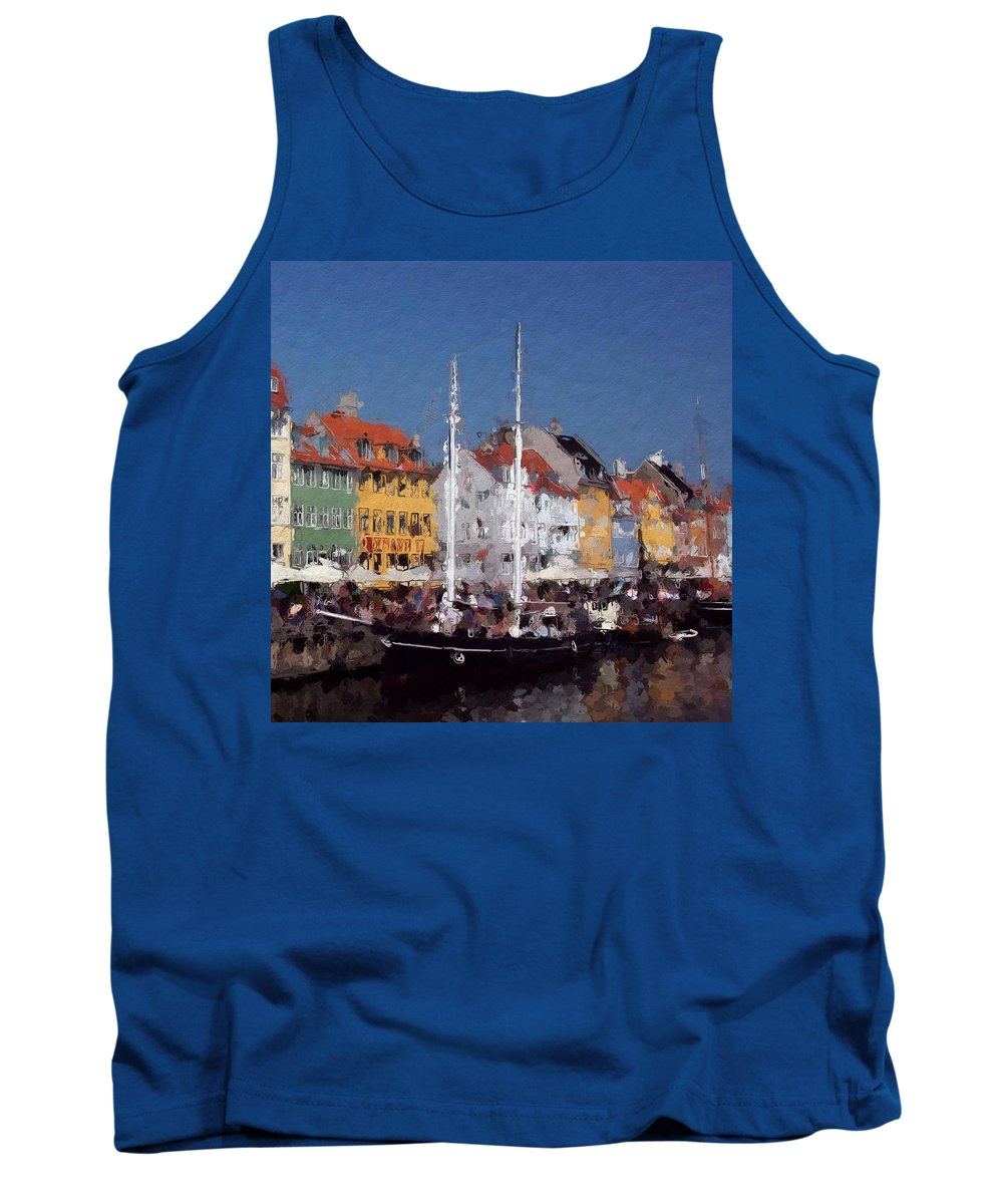 Old Town Houses Boat Boats Ship Ships Sailor Coloful Landscape Urban Tank Top featuring the painting At The Harbor by Steve K