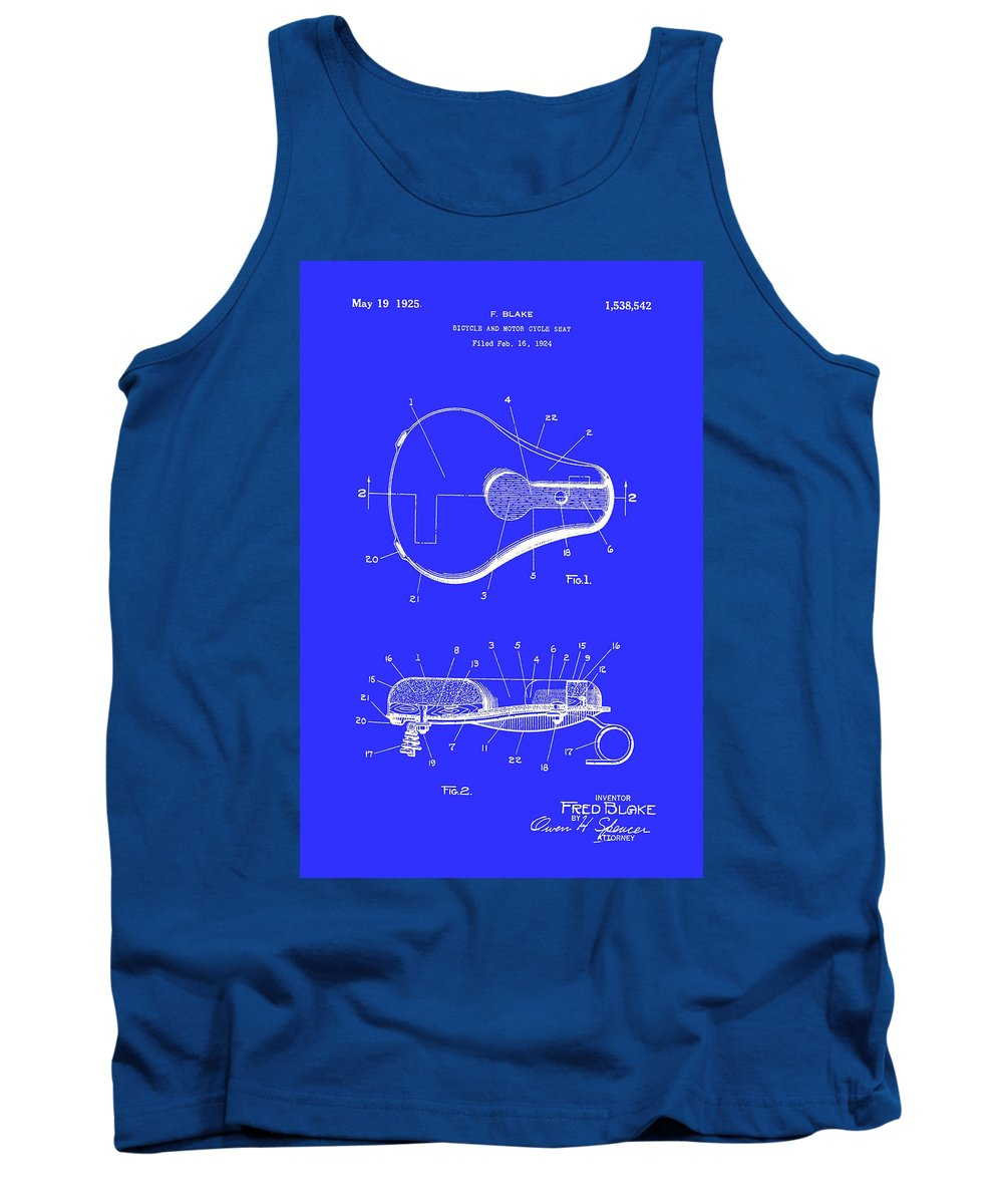 Patent Tank Top featuring the drawing Bicycle And Motorcycle Seat 1925 by Mountain Dreams